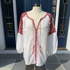 Long Sleeve White Peasant Top with Red Embroidery